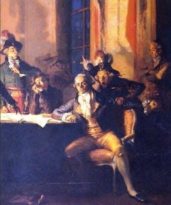 Robespierre refugiado en el Hotel de la Ville la noche del 9 al 10 de Termidor, víspera de su muerte.
