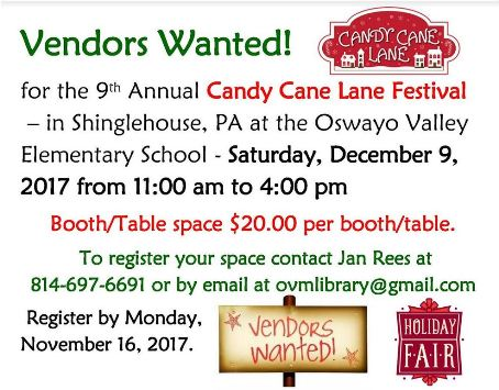 11-16 Candy Cane Lane Festival VENDORS WANTED!