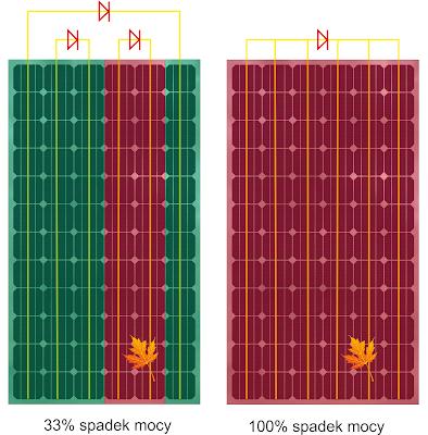zacienianie liściem fragmentu panelu fotowoltaicznego