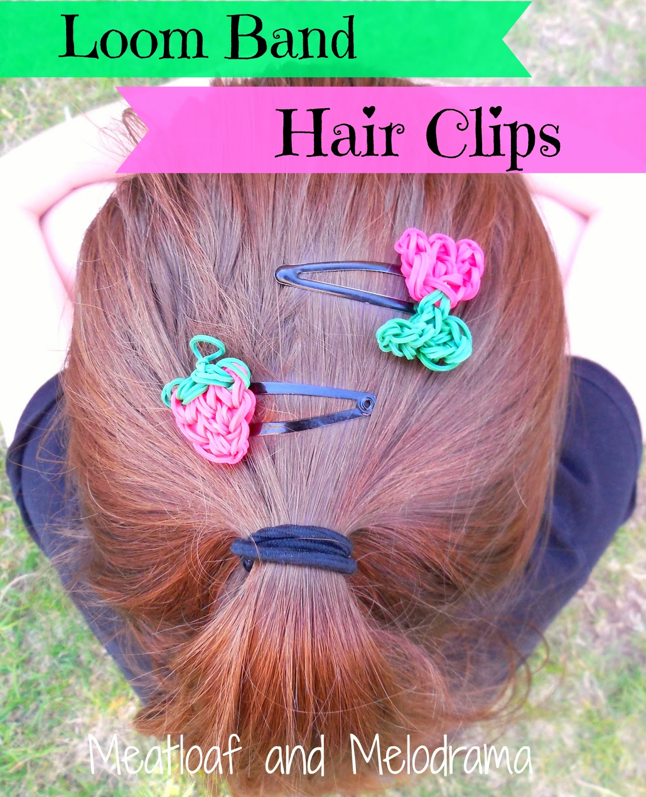 Rainbow loom strawberry and flower hair clips