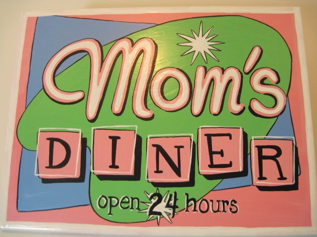 mom's retro diner painted ceramic tile via kudoskitchenbyrenee.com