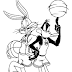 Bunny & Daffy Duck Playing Basketball Coloring Pages