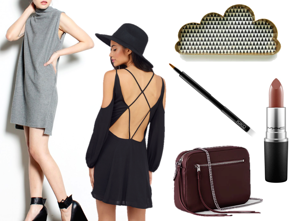 fashion blogger, monthly lust list, dress, tobi, young hungry free, mac lipstick stone, all saints bag, kiko lip brush, urban outfitters cloud shelf