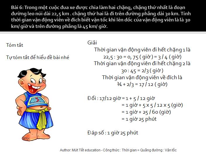 Bài tập tính thời gian trong chuyển động đều - toán lớp 5(8)