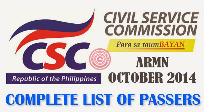 ARMM Civil Service Exam Results October 2014- Paper and Pencil Test List of Passers