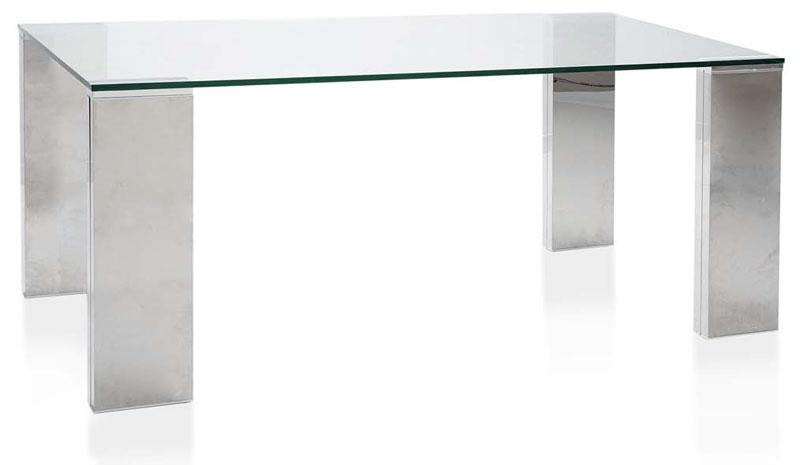 Muebles de forja mesas comedor de cristal y acero for Mesas de comedor de cristal y aluminio