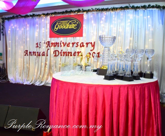 Stage Backdrop Decoration, polystrene, Anniversary, Annual Dinner, Event, Wedding, theme, red and ivory gold, klang utama, selangor, kuala lumpur