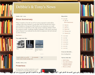 Our site on blogger with a picture of books in the background