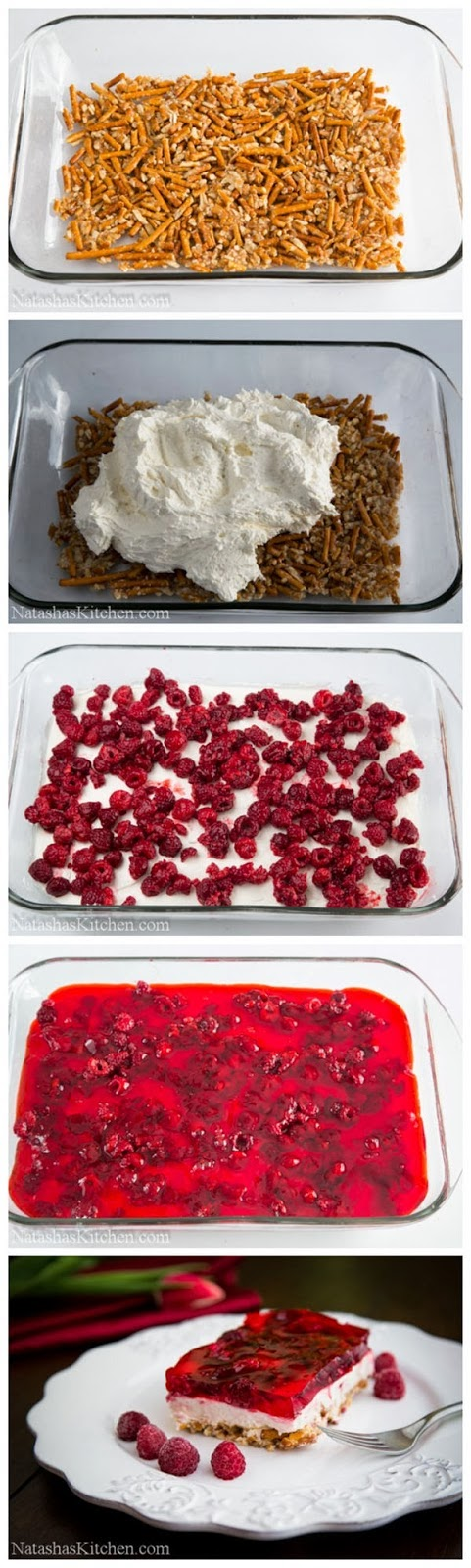 Raspberry Cream Cheese Pretzel Jello