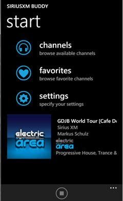 SiriusXM Buddy, WP7 App from Sirius Online