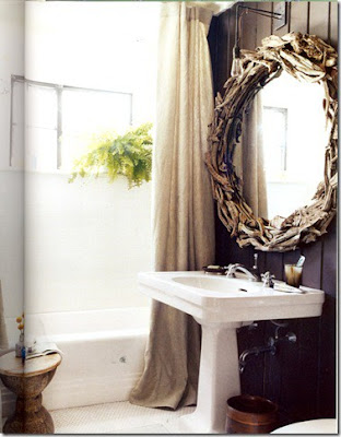 Domino Magazine Book of Decorating, Fern used in Bathroom, Pretty powder room, vanity, fern great house plant