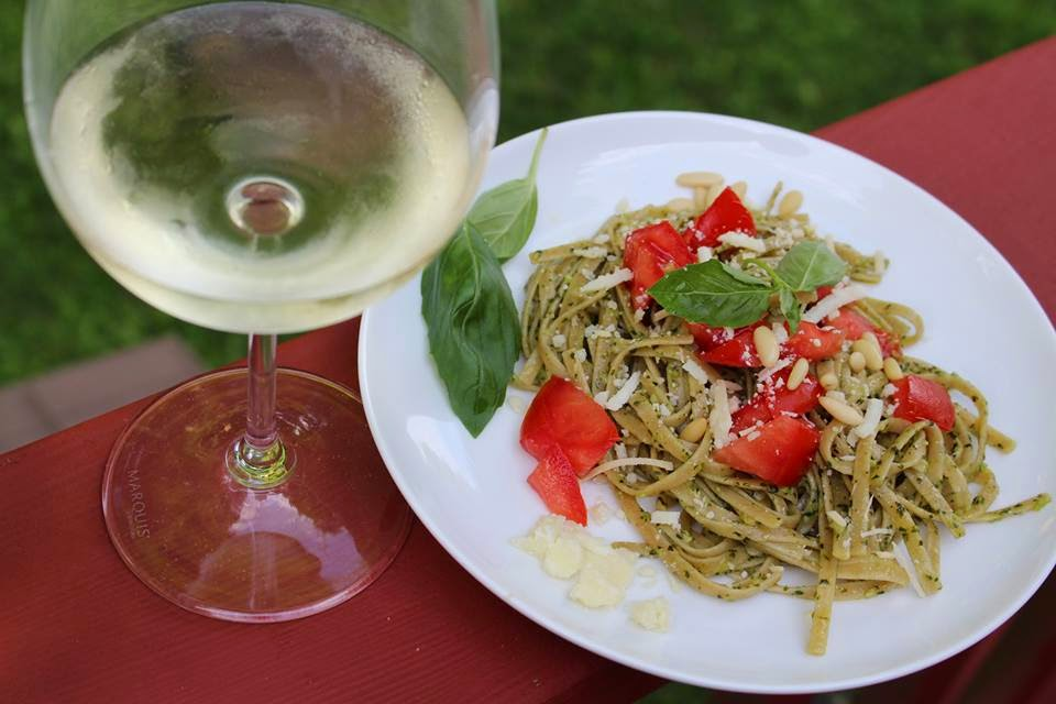 linguine with basil pesto, a favorite Cooking Chat recipe