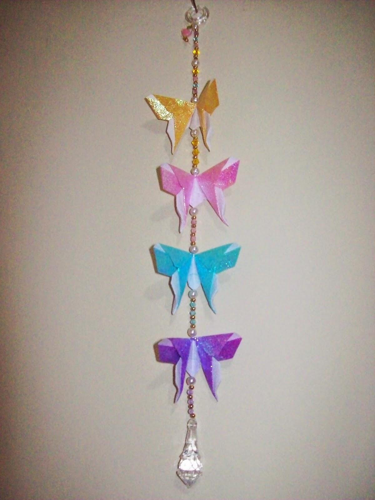Borboletas Origami - amarela, rosa, azul e roxa
