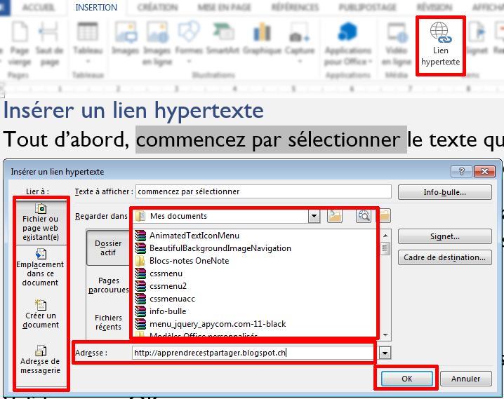 fenêtre lien hypertexte
