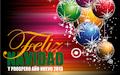 Postal navideña con mensaje de fin de año - Esferas