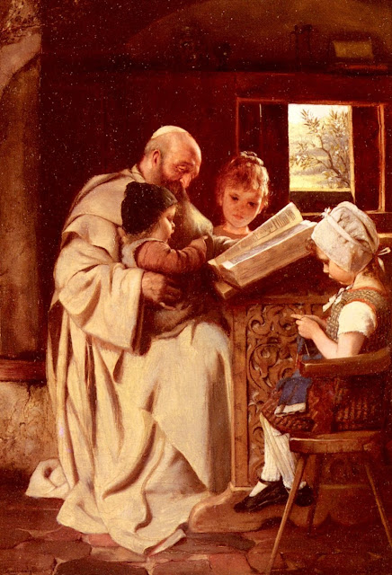 genre painting,reading the bible,priest painting