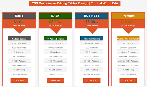 Create CSS Responsive Pricing Tables Design For Website Create CSS Responsive Pricing Tables Design For Website