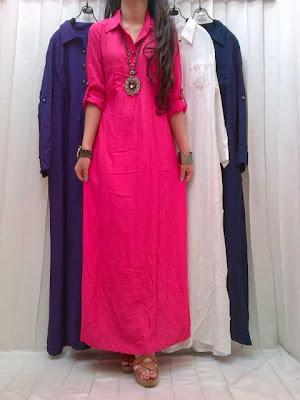 Maxi Dress Rayon Kancing Kode SR-453