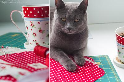 шитье кот красный процесс булавки нитки чашка