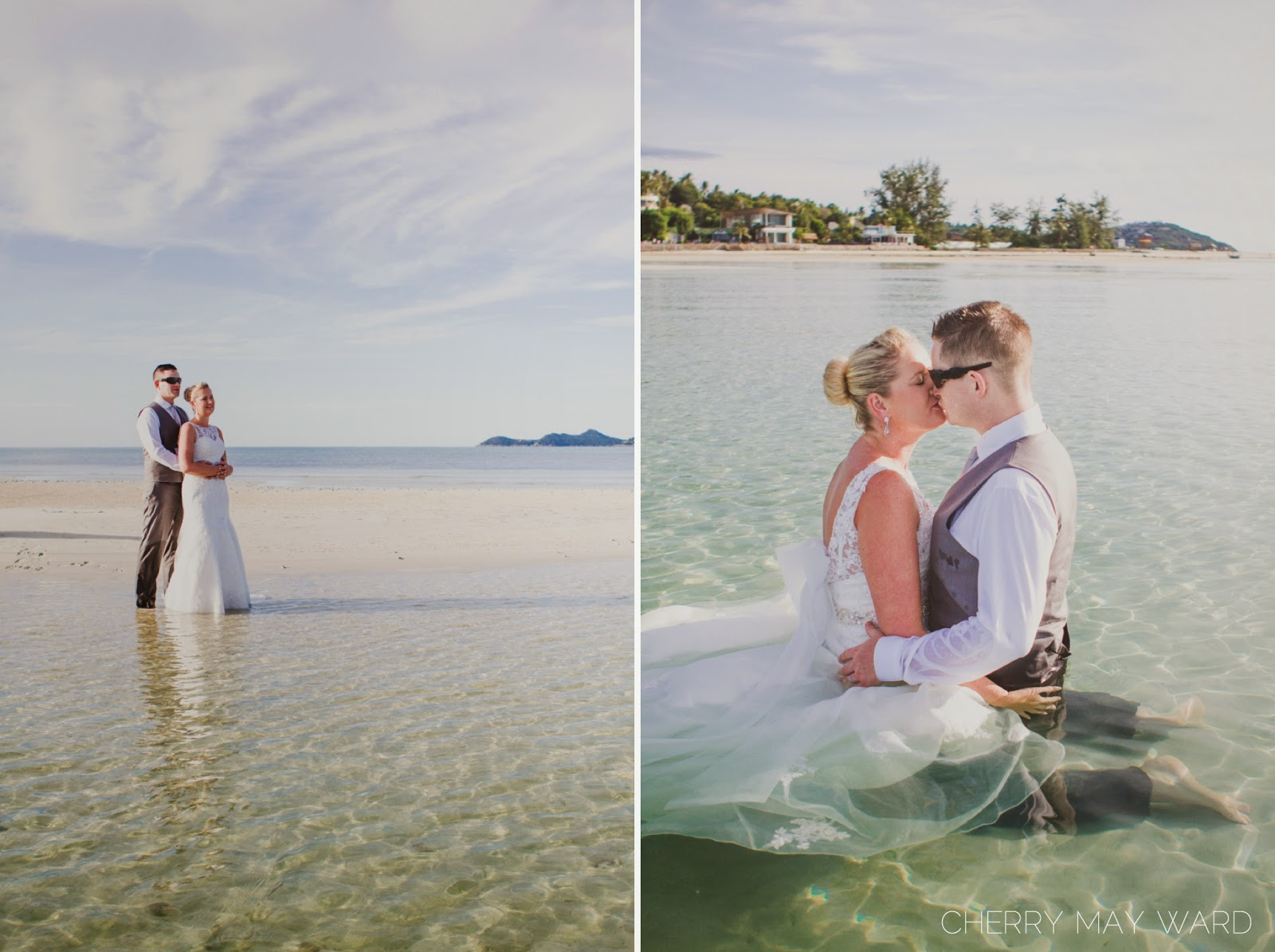 bride and groom kissing in the water, Koh Samui wedding dress in the water, Trash the dress on Samui, couple in love in wedding dress in the sea,