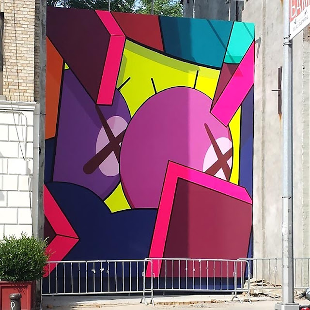 Street Art Mural By KAWS in Brooklyn, New York City.
