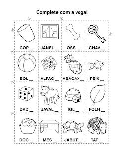 Atividades primeiro ano - Atividades para Alfabetização - Complete com a vogal