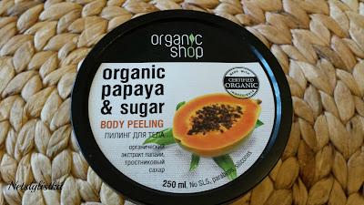 Organic Shop, kosmetyki naturalne, peeling do ciała z papają i cukrem trzcinowym, ekologiczny peeling