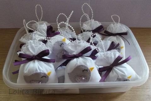 Sachês perfumados para cabide tema passarinhos