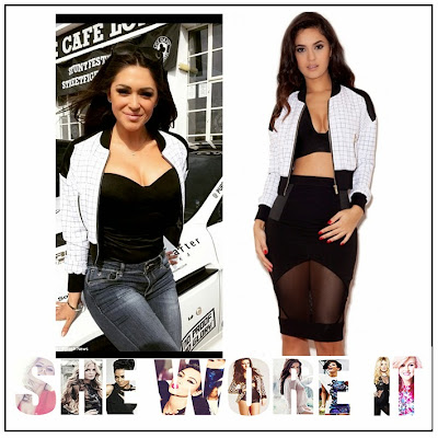 Black, Bomber Jacket, Casey Batchelor, Celebrity Fashion, Celebrity Style, Check Print, Contrast, Cropped, Faux Satin, Grid Print, House Of CB, Jacket, Panels, White, Zip Up,
