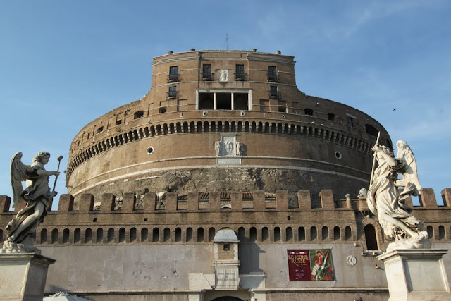 A close up of Castel Sant'Angelo in Rome, Italy