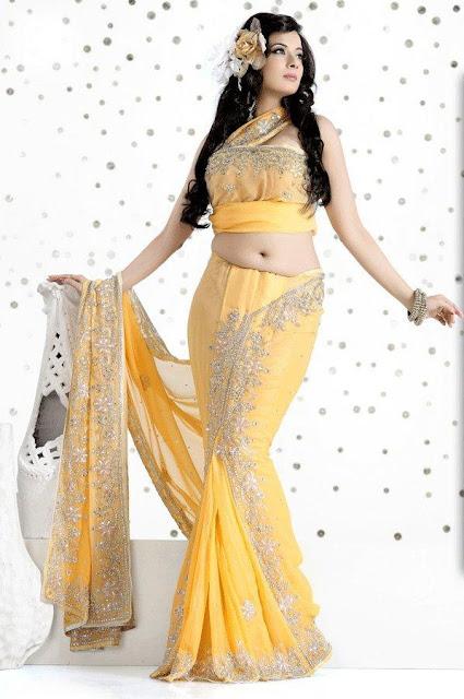 Yellow-Color-Lehenga-Style-Saree