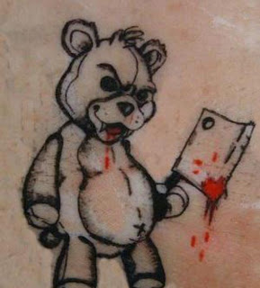 Tatuaje oso de peluche diabolico