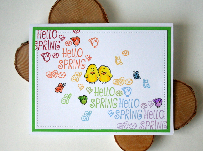 Rainbow Stamping Spring Easter Card by Jess Moyer featuring Gerda Steiner Designs Hello Spring clear stamp set
