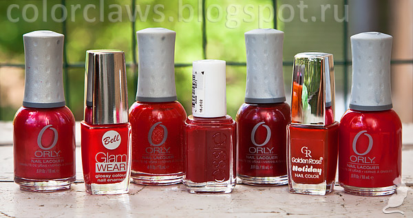 Bell Glam Wear #405, Essie A List, Golden Rose Holiday #61, Orly: Red Carpet, Reel Him In, Torrid, Unlawful