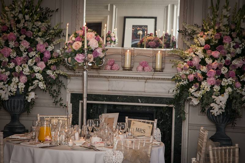Reception wedding breakfast decorations, flowers, table, candelabra