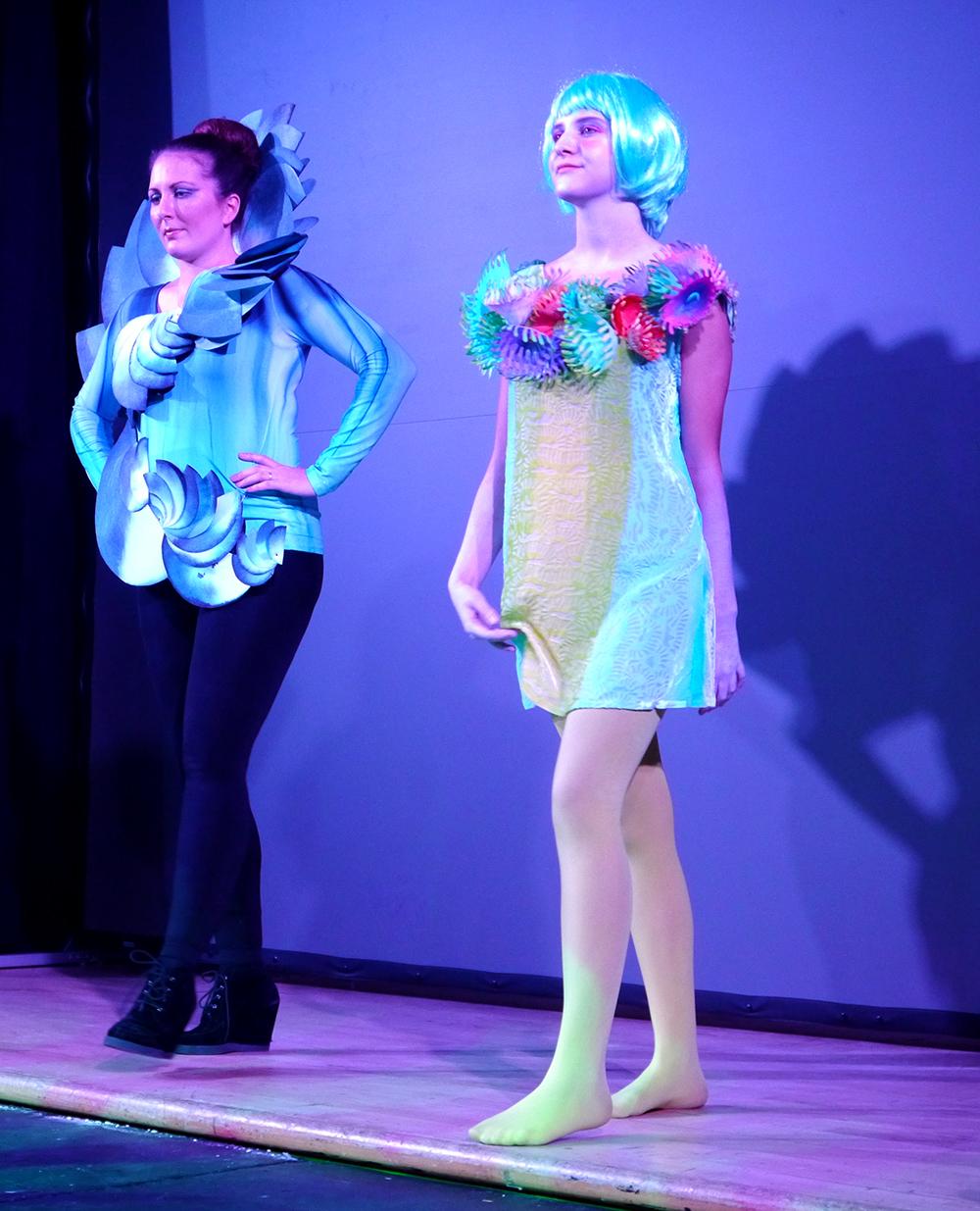 Dundee Wearable Art, Dundee Wearable Art Show, Wearable art, performance, fashion and art, Scottish Bloggers, Iona Godfrey-Faussett - Spiral of the Shell, Gabrielle von Waldburg - Deep Sea Diva, shell costume, shell outfit, coral costume, coral outfit