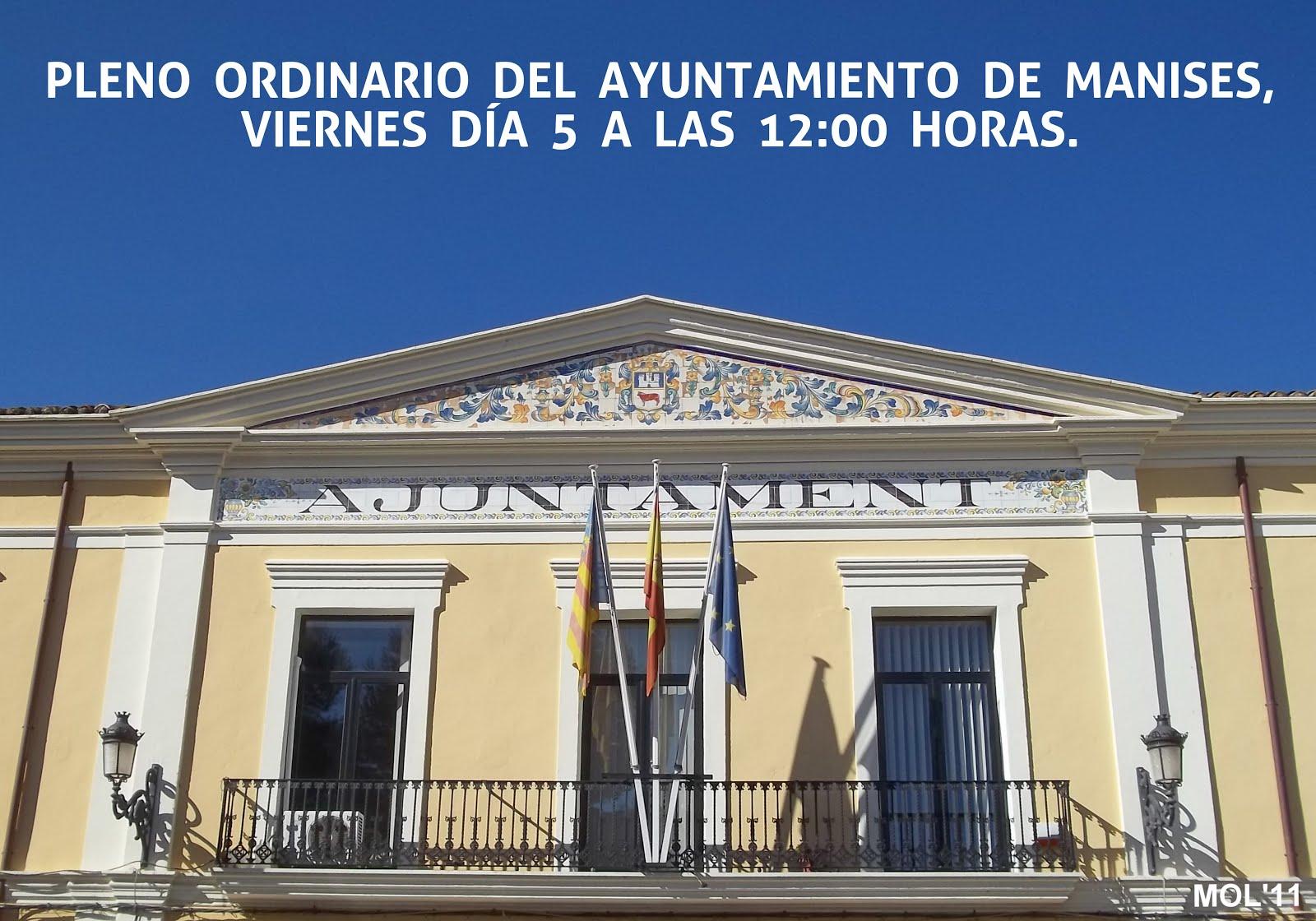 05.06.15 PLENO DEL AYUNTAMIENTO DE MANISES: JUNIO DE 2015