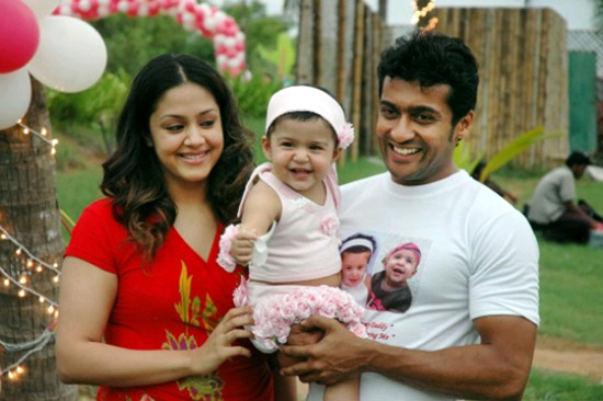 Surya with his Wife Jhothika & Daughter diya