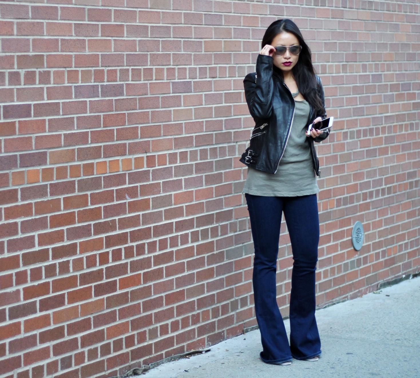 L'Agence Elysee low rise flares LNA desert crew tee Zara leather jacket