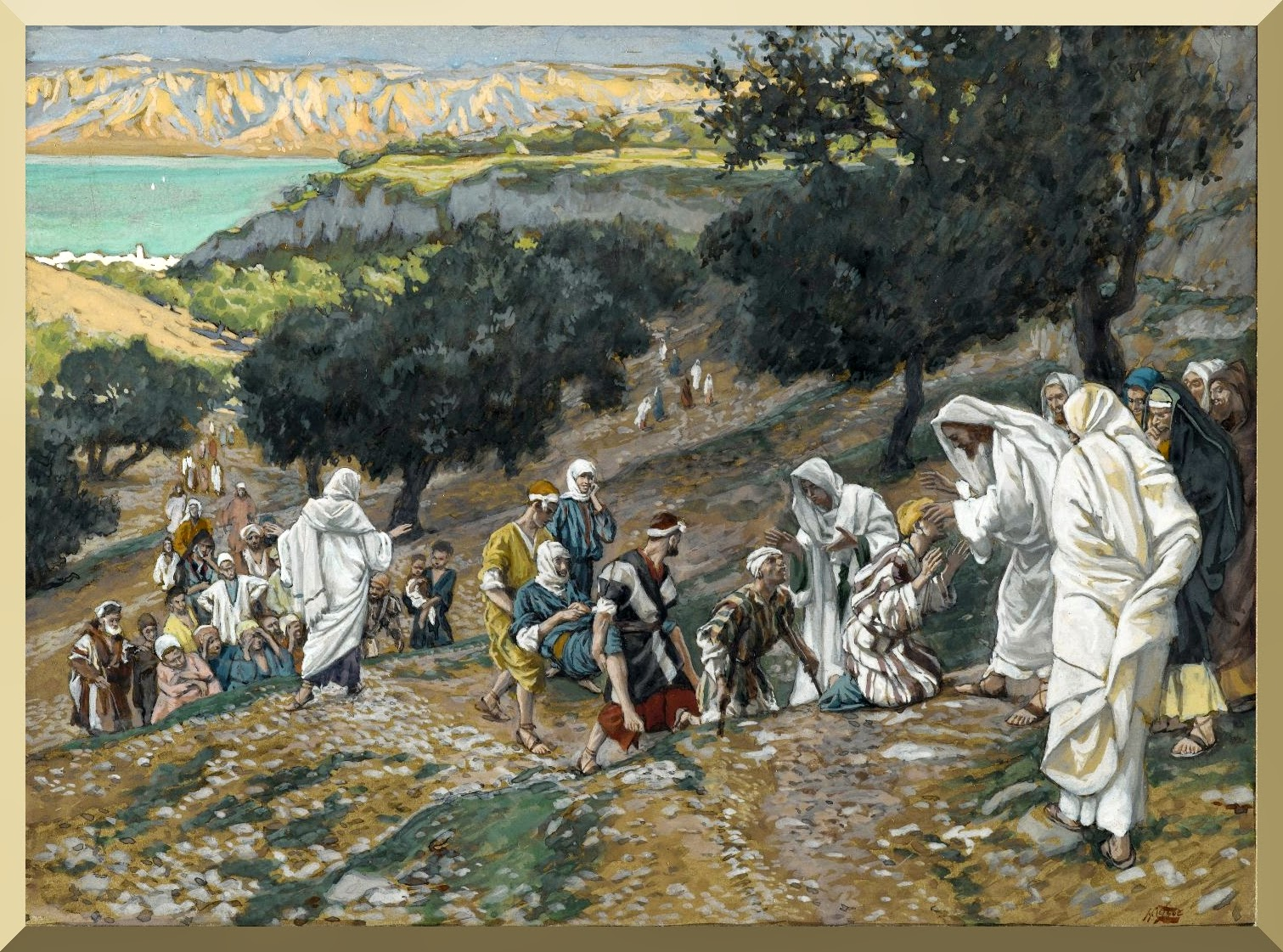 """Jesus Heals the Blind and Lame on the Mountain"" -- by James Tissot"