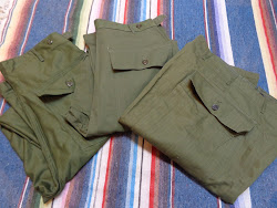 左から DEAD STOCK 50's FATIGUE PANTS、D/S 40's H.B.T. FATIGUE PANTS、D/S 40's M-43 H.B.T. PANTS