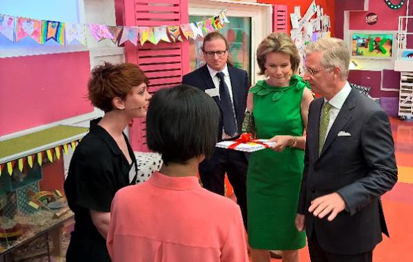 King Philippe and Queen Mathilde of Belgium visited public broadcasting the company for the Flemish region, Vlaamse Radio- en Televisieomroeporganisatie (VRT)