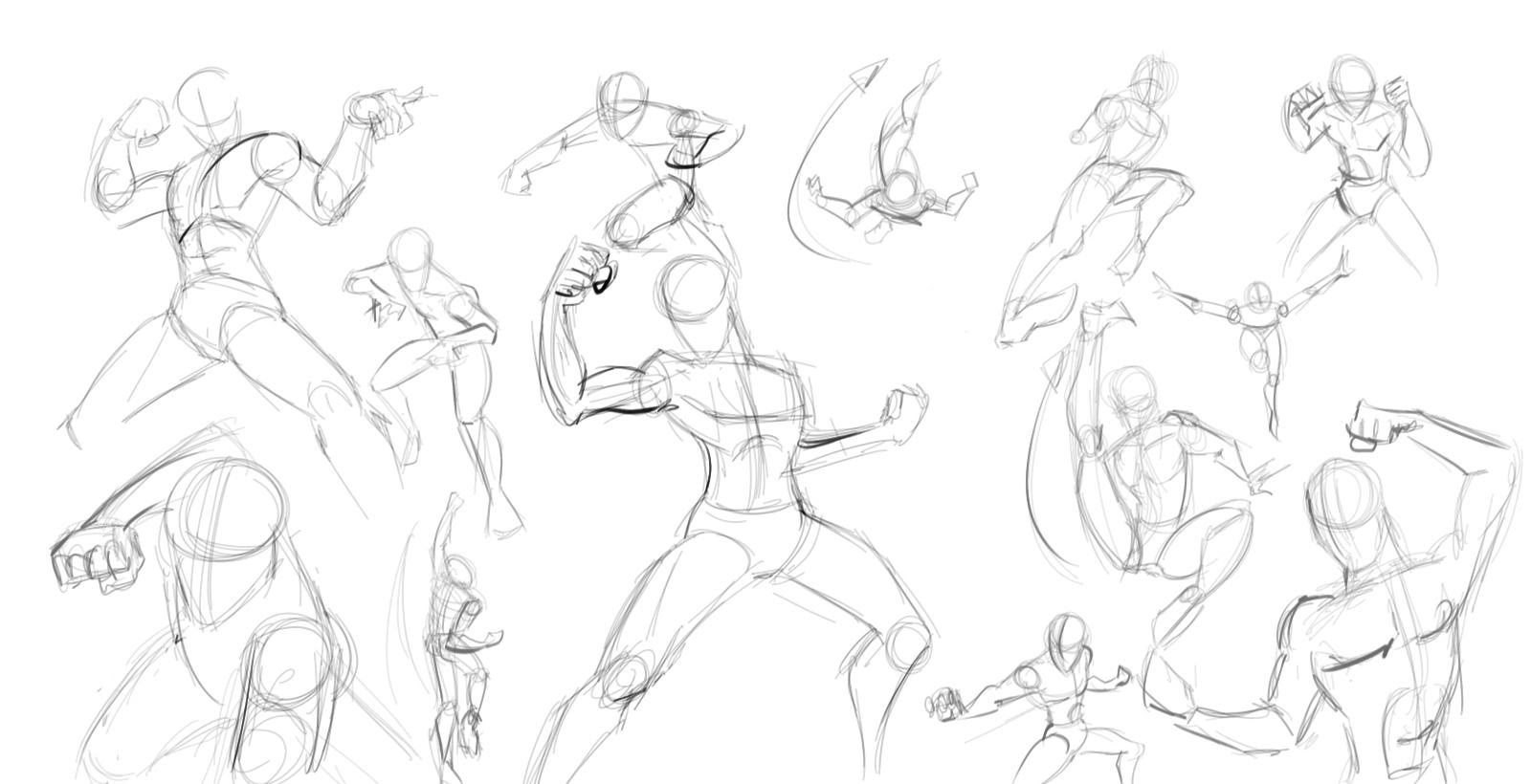 Practicing more Action Figure Sketches in Box forms of men and women ...