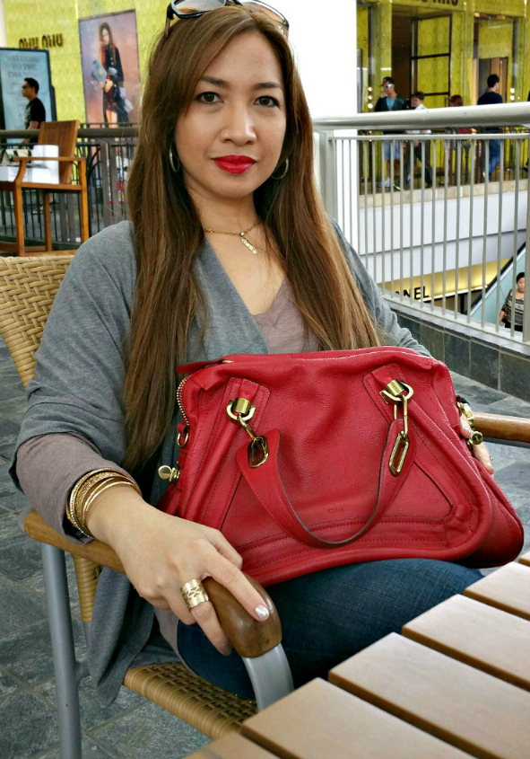 how to wear red, chloe party satchel red, review, purse