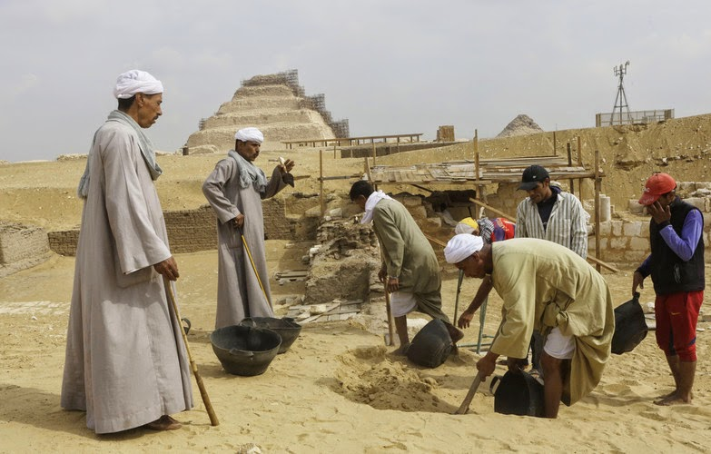 Saqqara was the necropolis for the ancient Egyptian city of Memphis and site of the oldest known pyramid in Egypt. Here, workers dig at the site of the newly-found tomb in the hope of uncovering fresh evidence of the Ramesside period