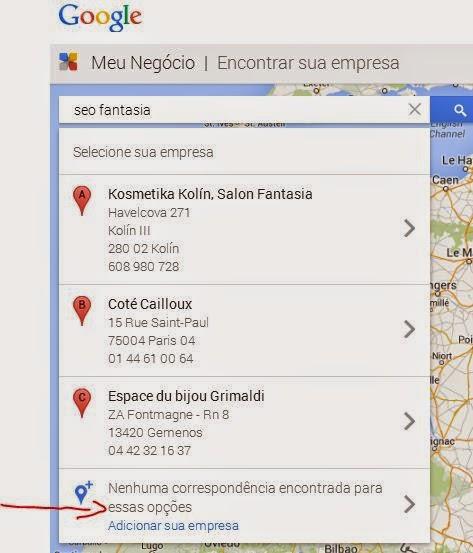 Adicionar uma empresa no Google rapidamente no sistema.