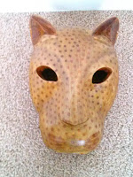 Handmade wood carved Leopard mask made in India