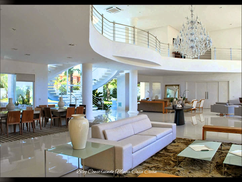 Salas De Estar Modernas E Luxuosas ~ Construindo Minha Casa Clean 30 Salas de Estar Decoradas com Escadas