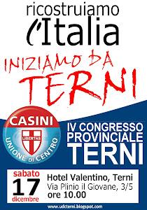 RICOSTRUIAMO L'ITALIA, INIZIAMO DA TERNI - IV CONGRESSO PROVINCIALE UDC TERNI