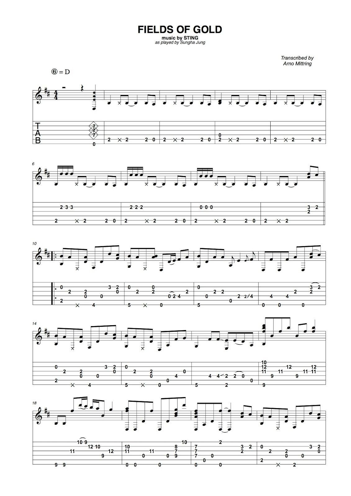 Poolguitarblog: (Sting) Fields of Gold - Sungha Jung incl tabs